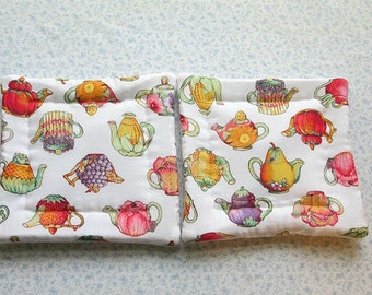 fruits and vegetables tea pots hand quilted set of 2 potholders hot pads