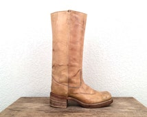 vintage 70s DISTRESSED taupe CAMPUS boots - size 5.5 - 6