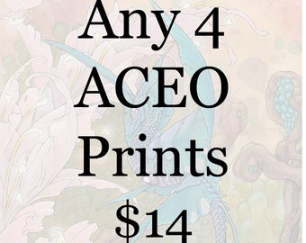 Choose any Four ACEO  art prints - Fantasy watercolor nature dragons unicorns creatures sale deal