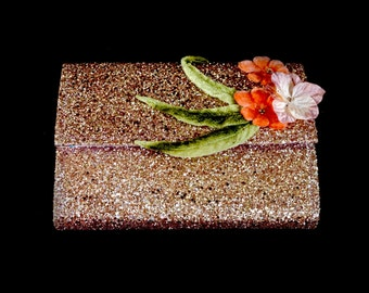Pink Glitter Flower Clutch Bag SALE - FREE SHIPPING