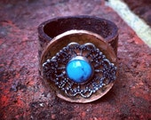 Handmade Turqoise and Copper Leather Statement Ring