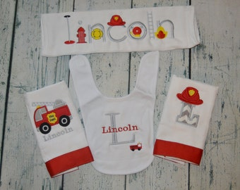 Personalized Firetruck Gift Set 3 Burp Cloths and 1 Bib Monogram Set of Fireman Baby Gifts