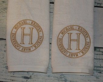 PERSONALIZED Set of 2 Hand Towel Monogrammed Family Name- House Warming