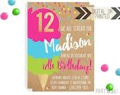 Ice Cream Invitation | Digital or Printed | Ice cream Cone Invitation | Ice Cream Invitation |  Ice Cream Invite | Ice Cream Party | Sundae