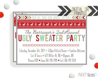 Ugly Sweater Invitation | Digital or Printed |  Ugly Sweater Party | Tacky Invite | Tacky Sweater Invite | Sweater Invitation | Tacky Party
