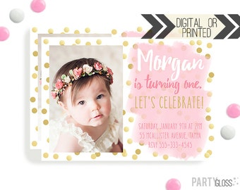 Pink and Gold Invitation | Digital or Printed |  Gold and Pink Invitation |  Pink Gold Party Invitation  | Gold Birthday Invitation