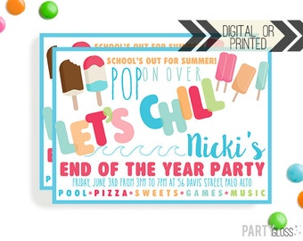 Summer Party Invitation | Digital or Printed | End of the Year Invitation |  School's Out Party | Ice Pop Invite | Ice Cream Party | Summer