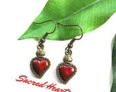Sacred Heart vintage style earrings Mexico altered art corazones rojo Milagros aretes mexican folk
