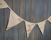 Vintage Tablecloth Bunting. Wedding Bunting. This embroidered bunting strand is 2.5m long.