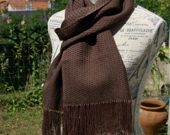 Hand dyed handwoven scarf mulberry silk and natural chocolate brown Tibetan yack by La Maison des Fibres