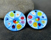 Enamel Earring Charms, Blue Enameled Copper Earring Pair, Rainbow Murinni Colorful Flowers, Sgraffito, Boho Chic, 25 mm Circles, Summer