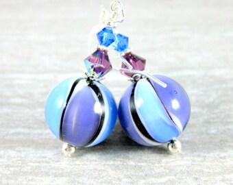 Purple Light Blue & Black Murano Glass Earrings, Striped Earrings, Round Ball Drop Earrings, Pastel Earrings, Venetian Murano Earrings