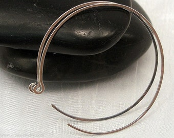 Large Silver Hoop Earrings, Sterling Silver Large 2 inch Handmade Reverse Hoop Earrings, Thin, Comfortable Earrings