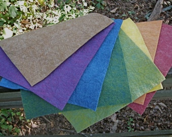 Rainbow Felt Pack with Earth Tone---Wool-Rayon Felt-- 9 1/2  X 9 1/2 Inches-- 8 Sheets--Plant Dyed