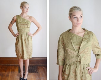 1950s One Shoulder Green Brocade Dress and Jacket - XS