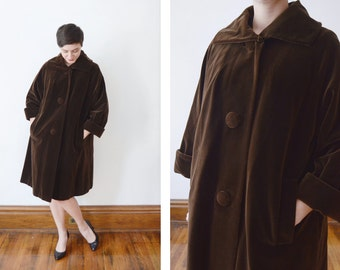 1950s Chocolate Brown Velveteen Swing Jacket - M/L