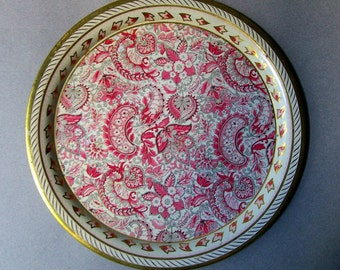 Vintage Round Metal Tray ~ 10 Inch Diam. ~ DAHER Decorated Ware