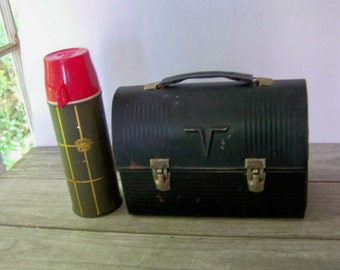 Vintage Black Lunch Box w/ Green & Red Thermos ~ Retro ~ Industrial