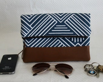 Fold Over Clutch, Blue Fold Over Clutch Purse, Zipper Clutch, Summer Clutch, Handmade Clutch, Bridesmaid Gift, Gift for Her