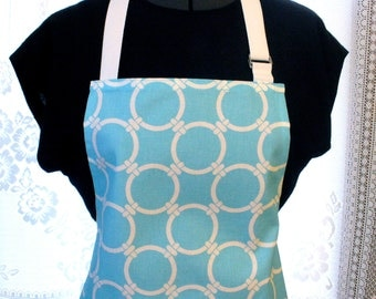 Turquoise Linked Circles Premier Prints Home Decor Fabric Womens Apron Full Apron Chefs Apron Adjustable Apron Sky Blue White Handmade MTO
