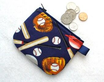Baseball Equipment Mini Coin Purse Little Zipper Boys Change Purse Navy Blue Red White Mitt Glove Bat Batting Helmet Baseballs Handmade MTO