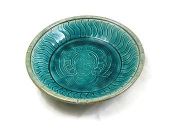 BUDDHA  Raku Pottery Bowl in Teal