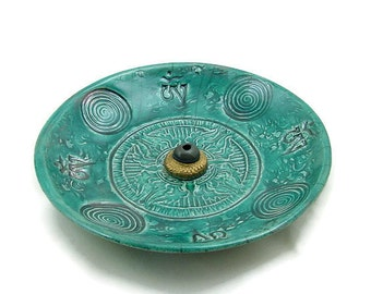 Raku VAJRA INCENSE BURNER Handmade Ceramic Pottery