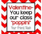 Valentine Gumball Stripe Sticker, Gift Enclosure Card or Return Address Label - Set of 24