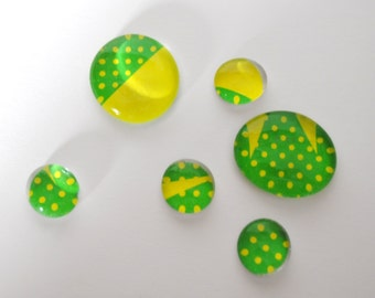 lime green and yellow dots magnet or push pin set - made from recycled magazines, stocking stuffer, hostess gift, graduation