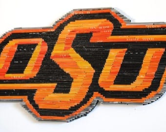 Officially licensed Oklahoma State University logo -  wall hanging- made from recycled magazines, black, modern, art, college