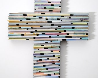 colorful PASTEL cross-  made from recycled magazines, blue, green, red, purple, pink, yellow, orange, gift idea, spring, calm