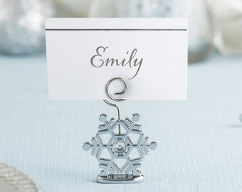 sparkling snowflake place card holder set of 6 seasonal wedding place cards table numbers reception bridal