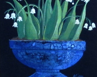 Lily of the Valley in Blue Floral Still Life Art Print