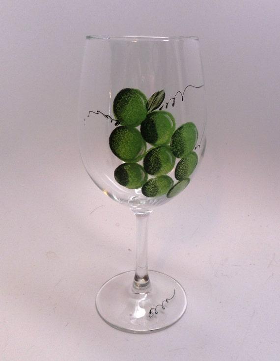 Hand Painted Wine Glass  - Green Grape Wine Glass