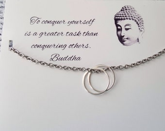 Sterling silver jewelry Circle of Life, Friendship, two rings necklace, Buddha quote card,symbolic meaningful jewelry, hypoallergenic