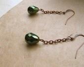 Dangle Drop Earrings Emerald Green Peacock Blue Glass Bead  - Two Peacocks