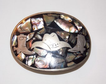 Vintage Mother of Pearl Cowboy Belt Buckle