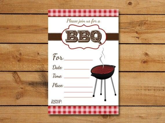 Blank Picnic Invitation BBQ Invitation ...