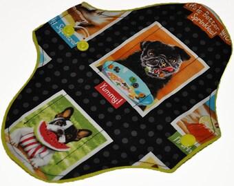 Light Hemp Core- Puppy Portraits Reusable Cloth Pantyliner Pad- WindPro Fleece- 8.5 Inches