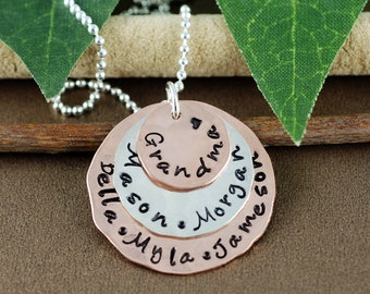Personalized Grandma Necklace | Hand Stamped Grandma Jewelry |  Grandmother Necklace | Gift for Grandma | Grandchildren Jewelry
