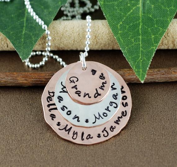 Personalized Grandma Necklace | Hand Stamped Grandma Jewelry |  Grandmother Necklace | Gift for Grandma | Grandchildren Jewelry