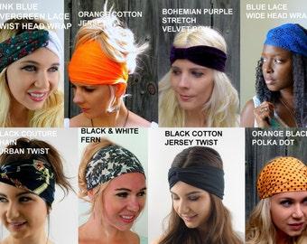 Wide Yoga Headband Turban - Choose ANY TWO Workout Band Hair Wrap Coachella Headband Stretch Running Headband - 40 Color Options