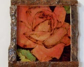 red rose pyrography folk art wood burned with live bark frame 8x9 inches full color hanger attached