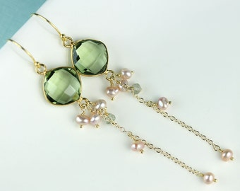 Bezel set Green Amethyst color quartz, long chain dangle earrings with natural color pink pearls on Vermeil French hooks by art4ear, OOAK
