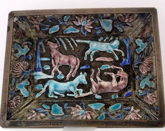 Old Chinese Cloisonne Horses Enamel Dish Mid 20th Century