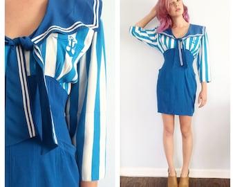 Vintage 70s Sailor Striped Anchor Dress