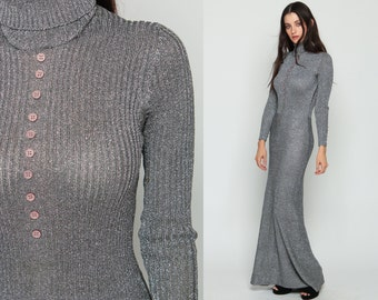 Silver Dress Party 70s METALLIC Mod Knit Maxi TURTLENECK 1970s Holiday Gown Cocktail Column Vintage Bodycon Long Sleeve Small Medium Large