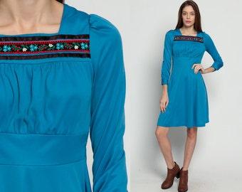 70s Babydoll Dress 60s Boho Mini PUFF Sleeve Drape Grecian 1970s Bohemian Folk Floral Long Sleeve Vintage Empire Waist Blue Small