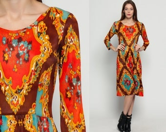 Psychedelic Dress Bohemian Midi Dress 70s Hippie Mod Floral Print High Waisted 1970s Vintage Boho Long Sleeve Orange Brown Blue Medium