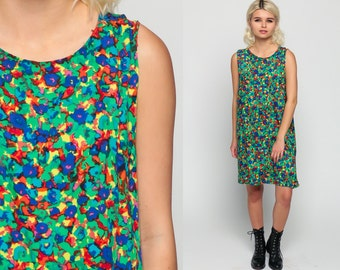 Floral Mini Dress 60s Mod Hippie Shift Sleeveless 70s WATERCOLOR Flower Print 1960s Boho Vintage Bohemian Green Blue Minidress Small xs